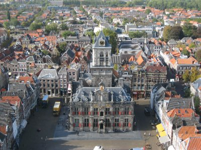 View of Delft from the top of a church in the center square.