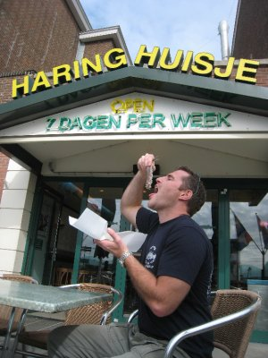 They took us to the Hague for a stroll on the beach where Hester wind surfs and surfs, and for a local treat. Freek eats Haring, a small, local fish that is enjoyed with its entire body in tact. I couldn't stomach this local delicacy.