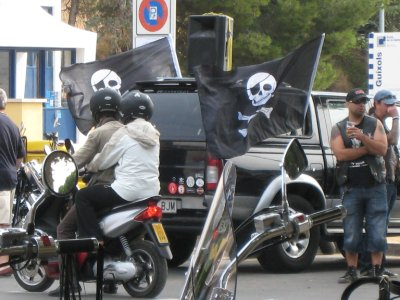 We arrived in San Feliu de Guixols to another kind of biker convention.