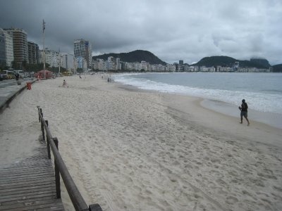 Famous Copacabana Beach was empty on the cloudy few days we were in Rio. We hear it is quite a scene on a sunny day, with chairs lining the beach, thongs galore, games of futbol and parties. We were surprised that given all the glitz we hear about Rio, the buildings seemed a bit old and drab, and there was not a posh restaurant, bar and cafe scene.
