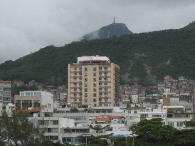 Christ the Redeemer overlooks Rio. He (an immense statue) appeared briefly through the clouds.