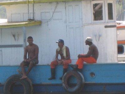 Fishermen passing time.