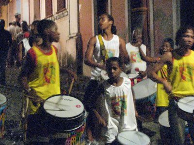 One of the younger percussion bands marching through the street on Tuesday night.