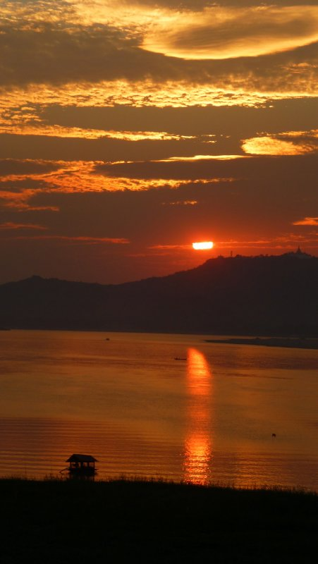 Sunset over the Irrawaddy River