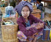 Market lady with face paint