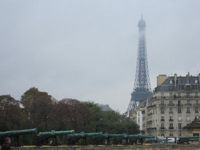 Our first glimpse of the Eiffel Tower through the mist