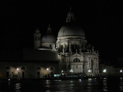 The Church of St Maria della Salute was all lit up