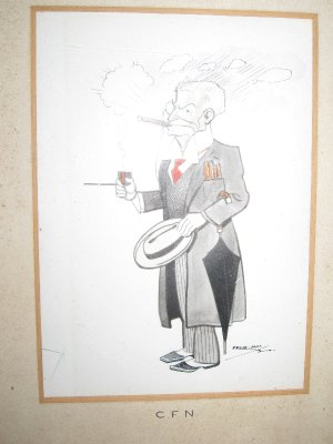 This caricature of David's grandfather, Charles, hangs in the bathroom