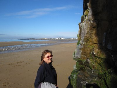 The icicles were still clinging to the rock-face on our beach walk at midday