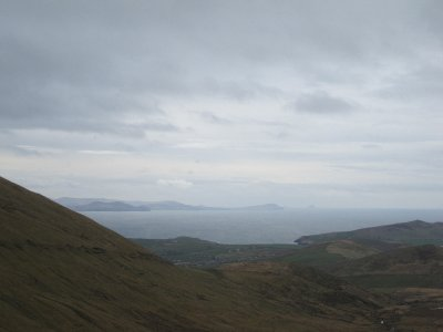 The view from the pass overlooking Dingle and the sea towards the Ring of Kerry
