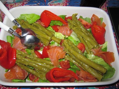 Salmon, roasted peppers and asparagus salad.
