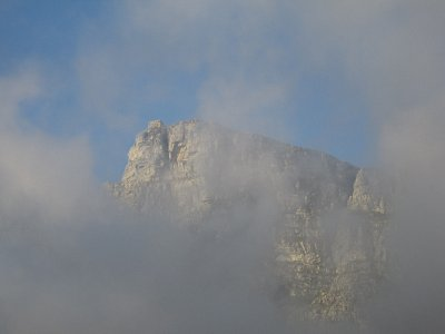 The back of Table mountain shrouded in clouds