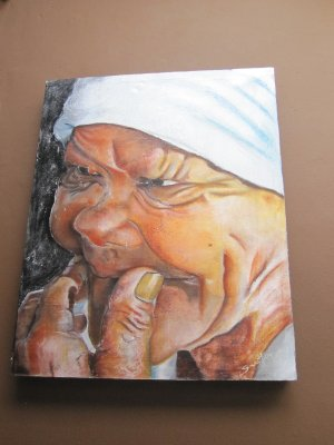 One of Sunet, the manager's, paintings on sale