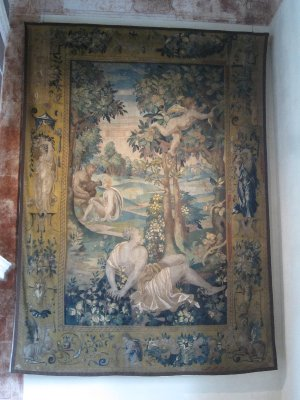 Tapestries in blue and gold adorned the high walls.