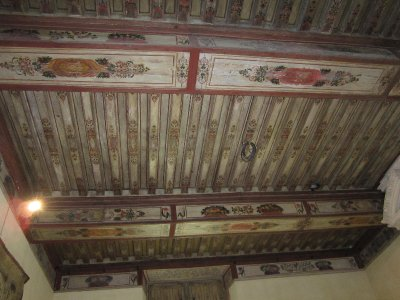 Some of the wooden ceilings are ornately decorated.