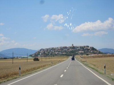 Villages such as this one, Berdun, are built on hilltops.