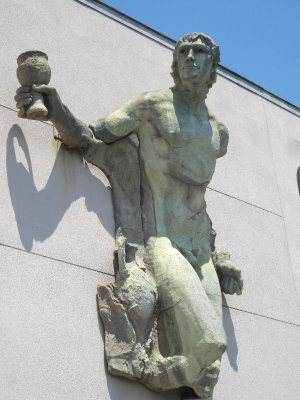 Ganymede, the cup-bearer of Zeus, provides the link between the cellar and the outside world.