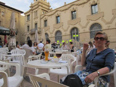 Relaxing with a beer later in Plaza San Augustin to beat the heat.