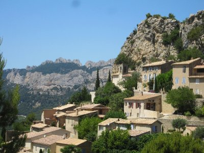The village of la Roque Alric with the Dentelles in the background