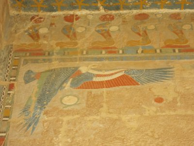 The vulture-headed goddess Nekhbet carrying the Shen ring symbol of eternity in her claws. This mural is still displaying the original colours