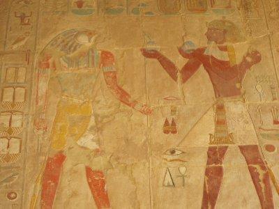 Tuthmosis III offering wine to Sokaris, god of burials