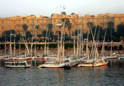 Falucas moored in front of the Winter Palace hotel.