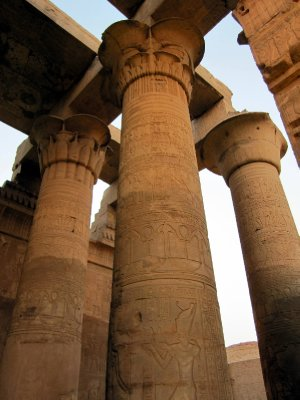 The capitals of the hypostyle hall are adorned with carvings of papyrus.