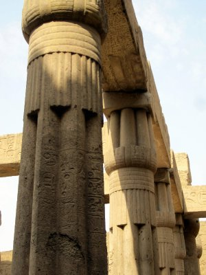 Columns in the Court, topped with papyrus buds.