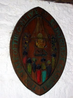 Carved wooden plaque in refectory