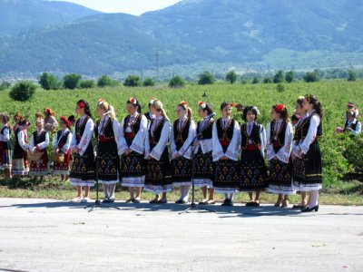 A group of traditional dancers and singers