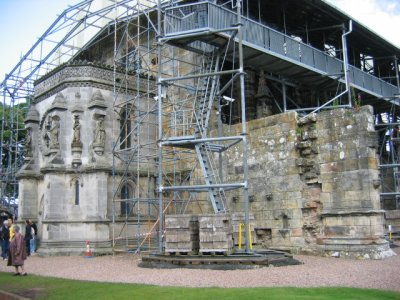 Rosslyn Chapel with preservation works in situ