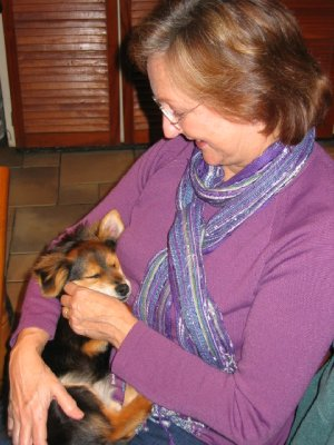 Sandi cuddling Janet's little dog Boebie