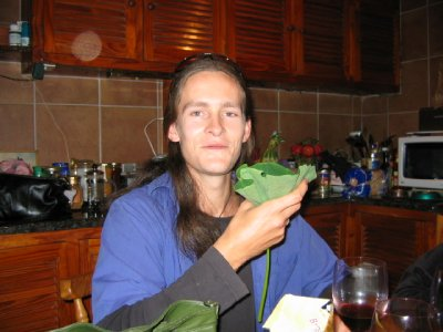 Simon will drink anything out of a nasturtium leaf!