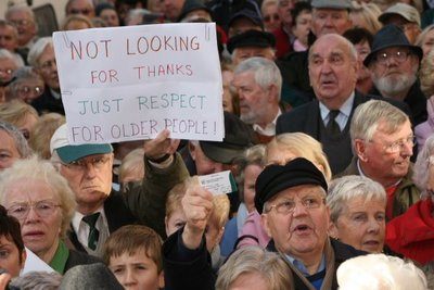 Massive country-wide protests by over 70s about threatened withdrawal of their medical cards