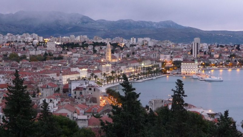 Split - Evening view on the Old Town from Marjan hill