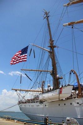 US flag on the ship
