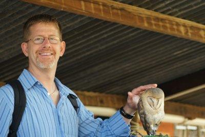 Curt with barn owl