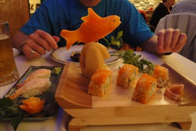 sushi with carrot fish
