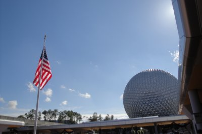 Epcot with flag