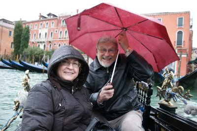 Mom and Dad on rainy ride