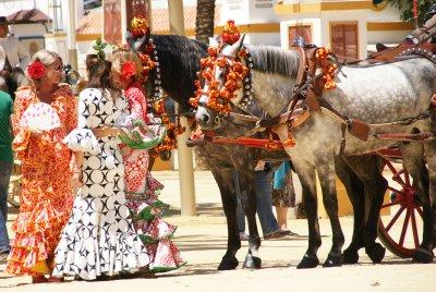 flamenco ladies with horses