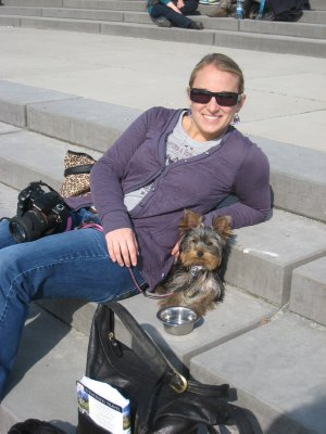 Bella and I resting in Berlin