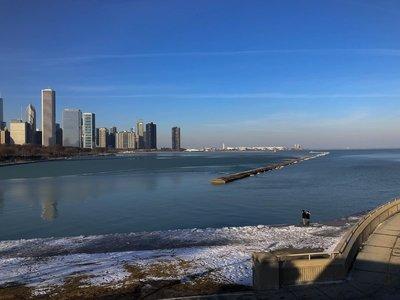 Skyline of Chicago across lake michigan