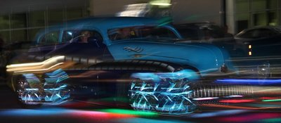 car in light parade