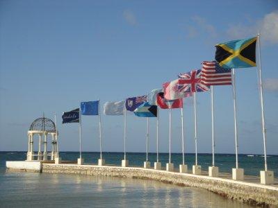 flags along ocean