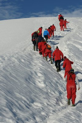 marching uphill