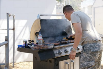 running the grill