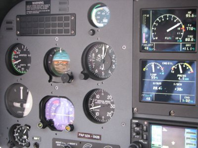 cockpit of our heli