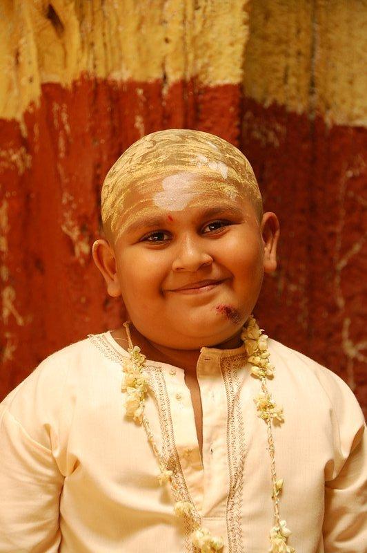 Painted little boy in Batu Cave
