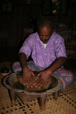 Kava being made in the traditional bowl